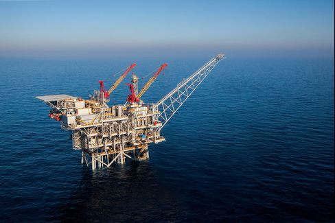 A natural gas production platform in the Tamar field