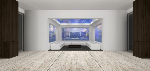 """The """"jelly fish room"""" has tanks on three walls and a light-changing ceiling."""