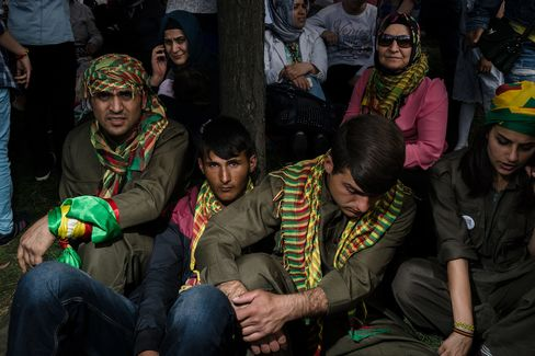 Supporters of the pro-Kurdish HDP party attend a campaign rally in Kazlicesme, Istanbul.