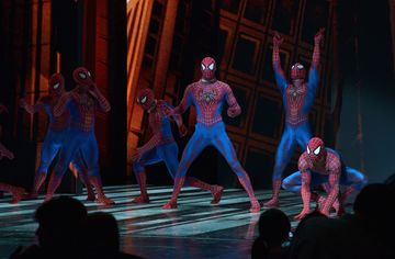 Stuntmen from 'Spider-Man Turn Off The Dark' take a curtain call at the final performance of Broadway's 'Spider-Man Turn Off The Dark' at Foxwoods Theater on Jan. 4, 2014 in New York City.