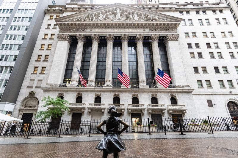 The Fearless Girl statue stands outside the New York Stock Exchange (NYSE) in New York, U.S.