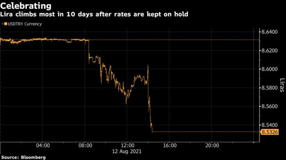 Lira Rallies After Turkish Central Bank Keeps Rates on Hold