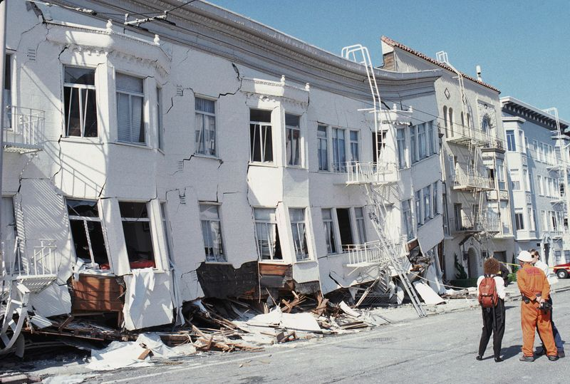 the marina district disaster zone after an earthquake hit san francisco in 1989
