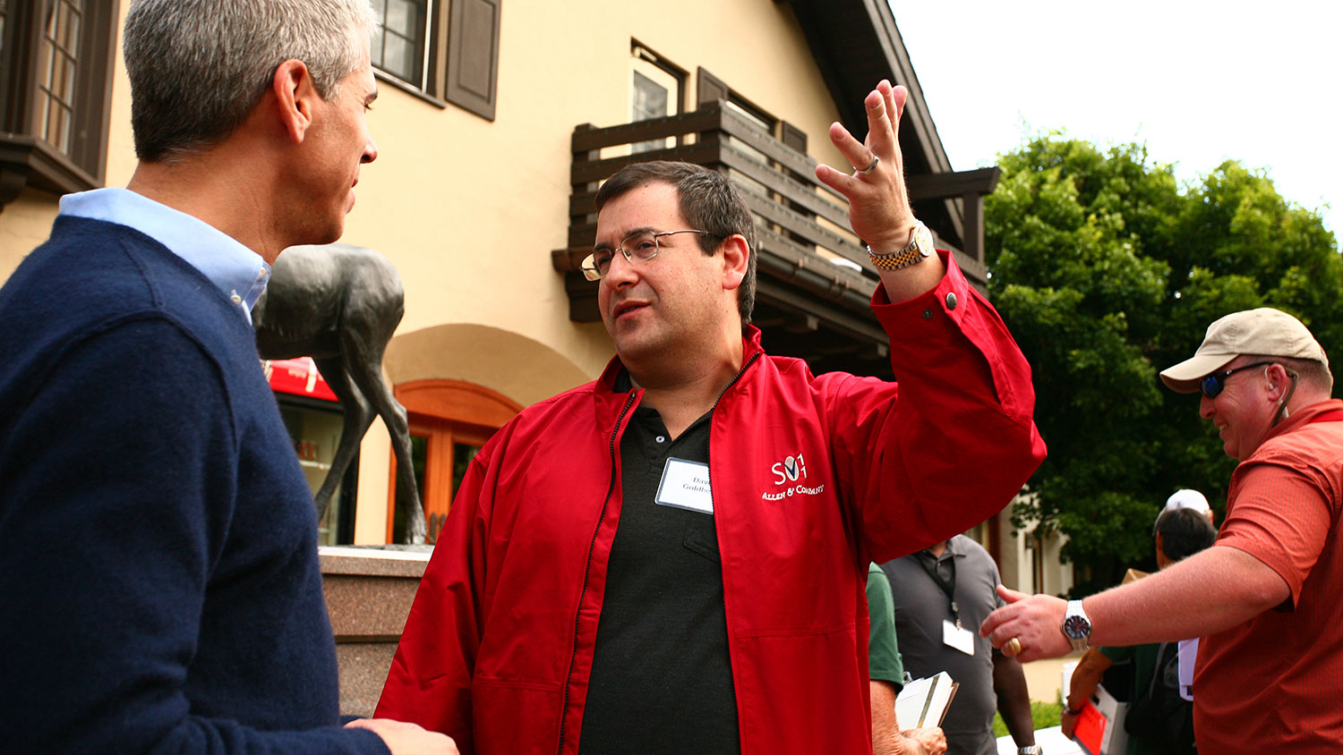 """David """"Dave"""" Goldberg, chief executive officer of SurveyMonkey.com, center, attends the Allen & Co. Media and Technology Conference in Sun Valley, Idaho, on July 8, 2011."""