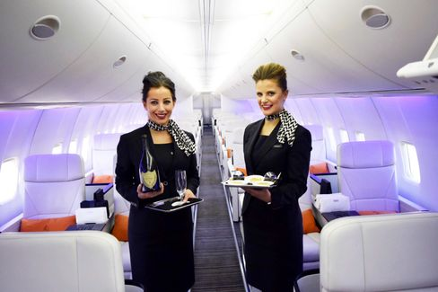 Four Seasons flight attendants Lana Reynolds (left), and Kimberly Benton.
