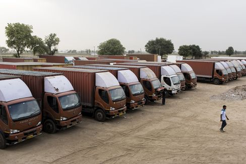 Trucks sit parked at a Rivigo pitstop in Manesar.