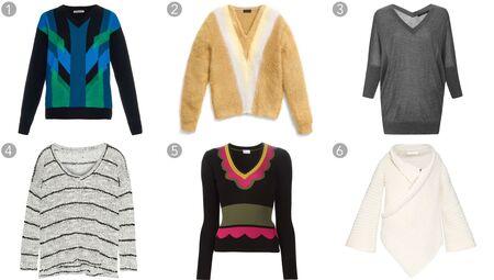 (1) Color-block intarsia cashmere-knit sweater, Bottega Veneta, $1,700, matchesfashion.com; (2) Color-block brushed V-neck sweater, Coach, $395, coach.com; (3) Silk and cashmere batwing sweater, Derek Lam, $650, modaoperandi.com; (4) Broome striped knitted sweater, Splendid, $150, net-a-porter.com; (5) Ribbed V-neck sweater, Red Valentino, $495, farfetch.com; (6) Chunky-knit wool-blend cardigan, Stella McCartney, $918, matchesfashion.com.
