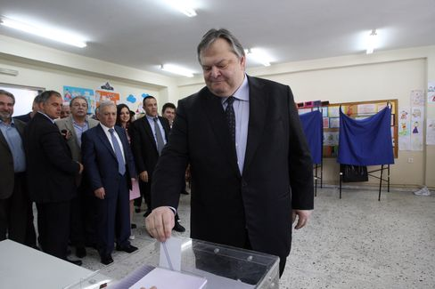 Greek Pasok Socialist Party Leader Evangelos Venizelos