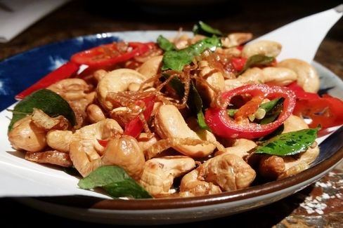 Chili and shallot with cashew nuts is a great snack at Duck & Rice.