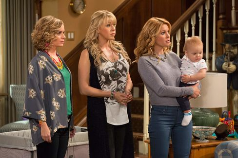 From left: Andrea Barber, Jodie Sweetin, and Candace Cameron Bure on Fuller House.