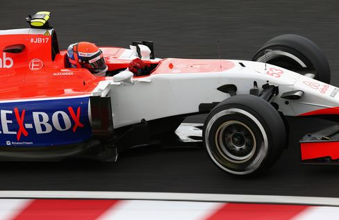 Rossi drives during final practice for the Formula One Grand Prix of Japan at Suzuka Circuit.
