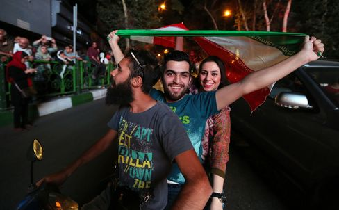 People Celebrate in Tehran