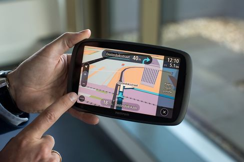 A street map is displayed on the touchscreen of a TomTom GO 6100 personal navigation device (PND) at TomTom NV's headquarters in Amsterdam, Netherlands, on Monday, June 29, 2015