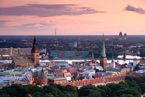 The Riga, Latvia, skyline.