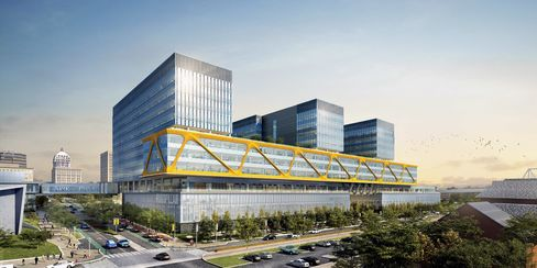 A rendering of Caterpillar's new HQ.