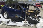 This image taken from a video shows the scene of an accident involving a Tesla Model X on March 23.