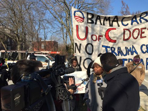 Supporters of more adult trauma care at the University of Chicago gathered outside President Barack Obama's home on Thursday.