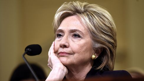 Hillary Clinton waits to testify before the House Select Committee on Benghazi on Capitol Hill on Oct. 22, 2015.