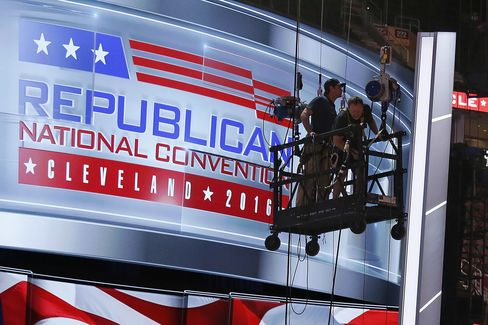 The main stage of GOP convention arena