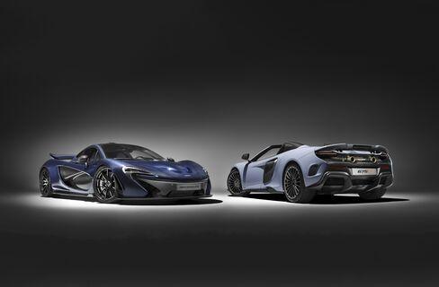 The McLaren P1 and 2017 McLaren 675LT Spider. The Spider is the convertible version of the super-car McLaren showed last year.