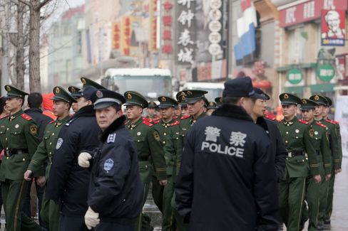 Paramilitary Police On Wangfujing Pedestrian Street