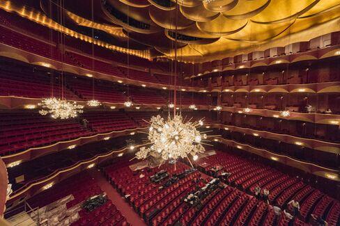 A chandelier in the Met Opera's auditorium.