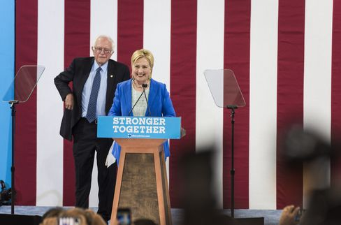 Clinton and Sanders on July 12.