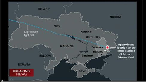 Path of Malaysia Airlines plane