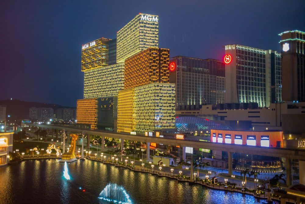 The MGM Grand Macau casino, left, stands illuminated at night in Macau on March 3.