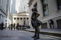 """""""Fearless Girl"""" Statue Moves To Her New Home Across From NY Stock Exchange"""