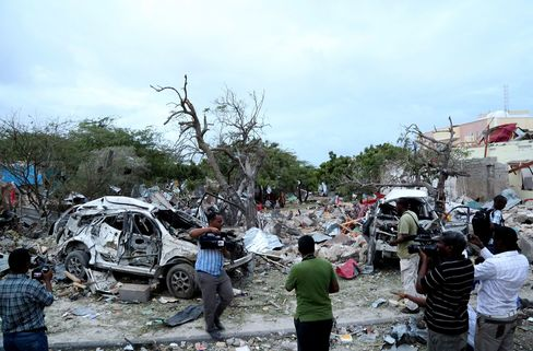 Damage follwing a bamb attack at the gate of the Jazeera hotel in Mogadishu, Somalia, on July 26, 2015.