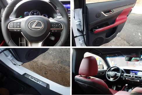 The GS 350 has a steering wheel trimmed in perforated leather, aluminum pedals and racing inspired instrumentation.