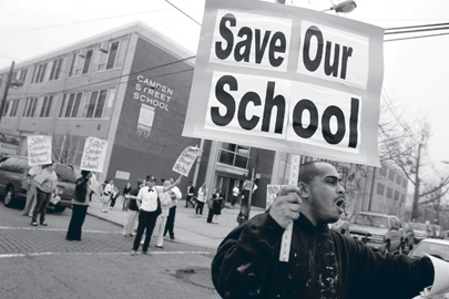 In March, teachers protest the closing of Camden Street Elementary