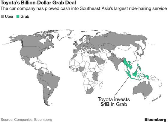 Toyota Pours $1 Billion Into Ride Hailing to Keep Pace With GM