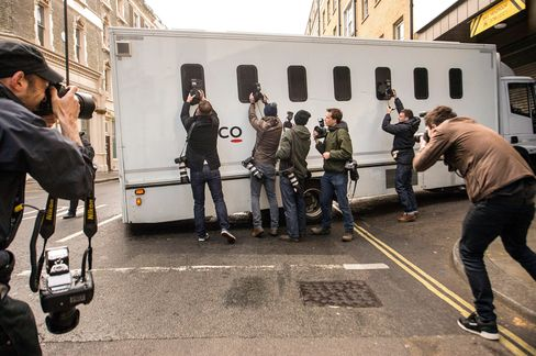 A prison van arrives at Westminster Magistrates Court where trader Navinder Singh Sarao is due to appear after failing to raise the cash needed to make bail.