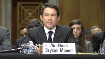 Noah Mamet testifying before the Senate Foreign Relations Committee on Feb. 6, 2014.