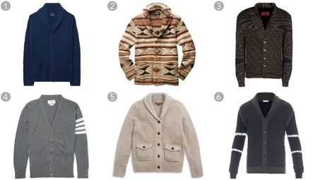 (1) Lambswool cable shawl cardigan, Gant, $275, gant.com; (2) Hand-knit Southwestern-patterned cardigan, RRL & Co., $995, ralphlauren.com; (3) Patterned cardigan, Missoni, $1,540, missoni.com; (4) Striped wool cardigan, Thom Browne, $995, mrporter.com; (5) Textured shawl collar cardigan, Tommy Hilfiger, $199.50, tommy.com; (6) Jacquard cashmere cardigan, Tomas Maier, $1,787, matchesfashion.com.