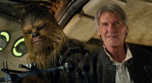 Chewbacca and Han Solo return in The Force Awakens.