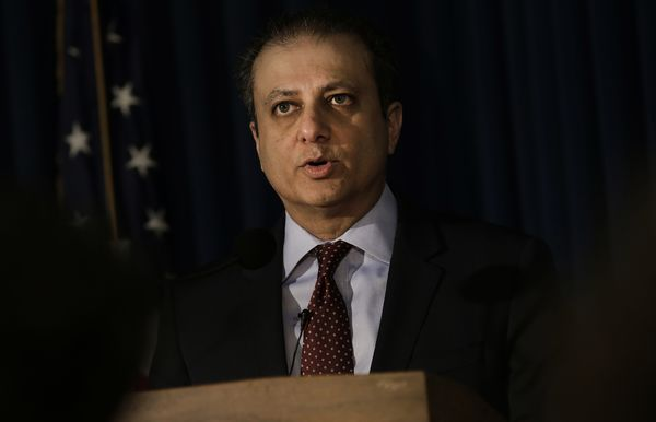 Preet Bharara, U.S. attorney for the Southern District of New York, speaks during a press conference in New York on Dec. 21, 2016.