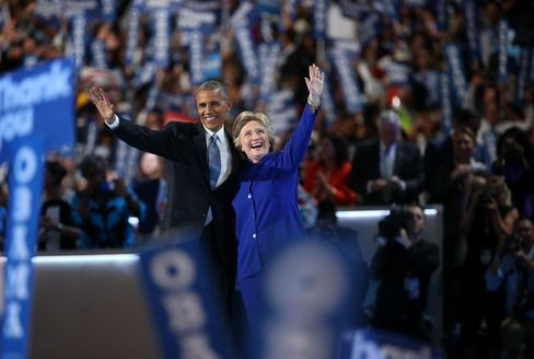 Obama and Clinton on July 27.