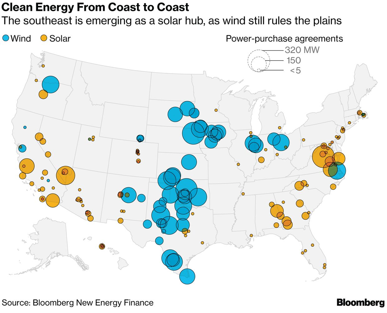 America\'s Clean Power Map: Solar on Coasts, Wind Rules Heartland ...