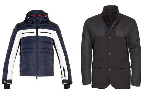 From left: Garonne technical ski jacket, Moncler Grenoble, $1,720, matchesfashion.com; Black icon warmer jacket, Z Zegna, $1,795, zegna.com.