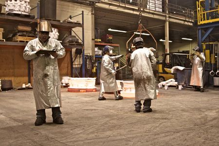 Foundry operators at Precision Castparts in Portland, Oregon in 2011.