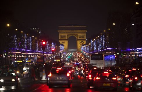 Traffic on Champs-Elysees