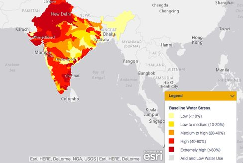 This map shows the severity of water stress throughout India.