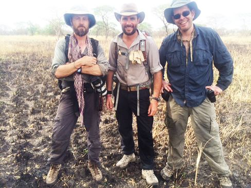 From left: Florio, Wood, and Power in Uganda on the morning of March 10, 2014, shortly before Matt collapsed