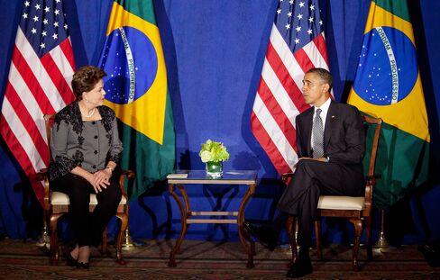 Brazil's President Dilma Rousseff and President Barack Obama