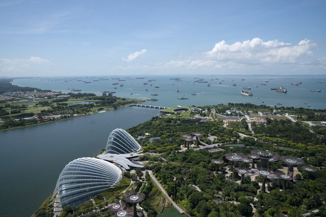 Ships off the coast of Singapore, on July 6. During the Covid pandemic the narrow waterway off the island became even more congested.
