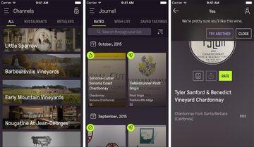 Screenshots from Wine Ring app.