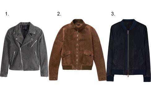 (1) Suede biker jacket, H&M, $249, hm.com; (2)Suede bomber jacket, Gucci, mrporter.com; (3)Zipped teddy jacket, ami, $980, amiparis.fr